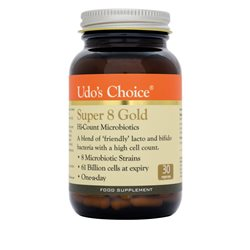 Udo´s Choice Super 8 Gold Hi-Count Microbiotics- 30 Cápsulas Vegetales- NUEVO